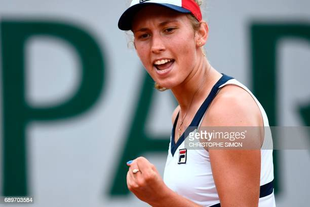 Belgium's Elise Mertens reacts after scoring during her tennis match against Australia's Daria Gavrilova at the Roland Garros 2017 French Open on May...