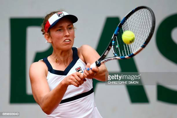Belgium's Elise Mertens returns the ball to Australia's Daria Gavrilova during their tennis match at the Roland Garros 2017 French Open on May 29...