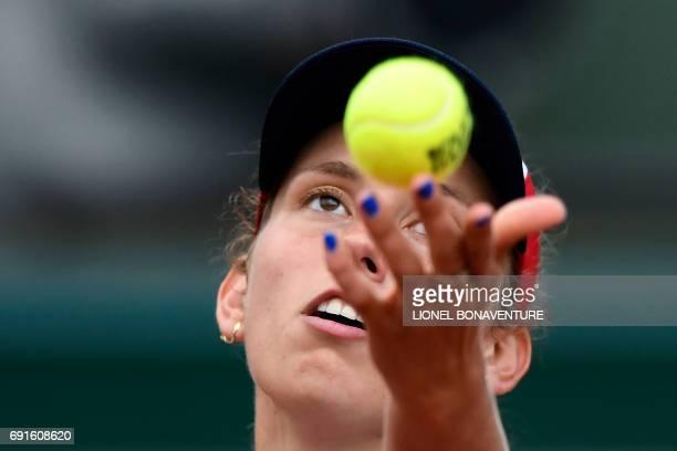 Belgium's Elise Mertens servesto US Venus Williams during their tennis match at the Roland Garros 2017 French Open on June 2 2017 in Paris / AFP...