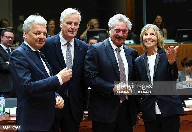 Belgium's Foreign Minister Didier Reynders European Commission member in charge of Brexit negotiations with Britain Michel Barnier Luxembourg's...