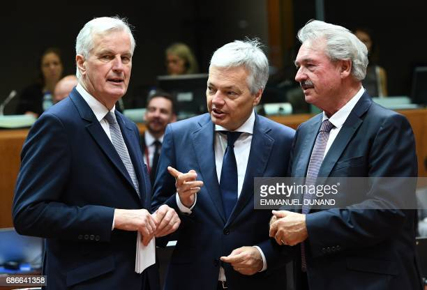 Belgium's Foreign Minister Didier Reynders European Commission member in charge of Brexit negotiations with Britain Michel Barnier and Luxembourg's...