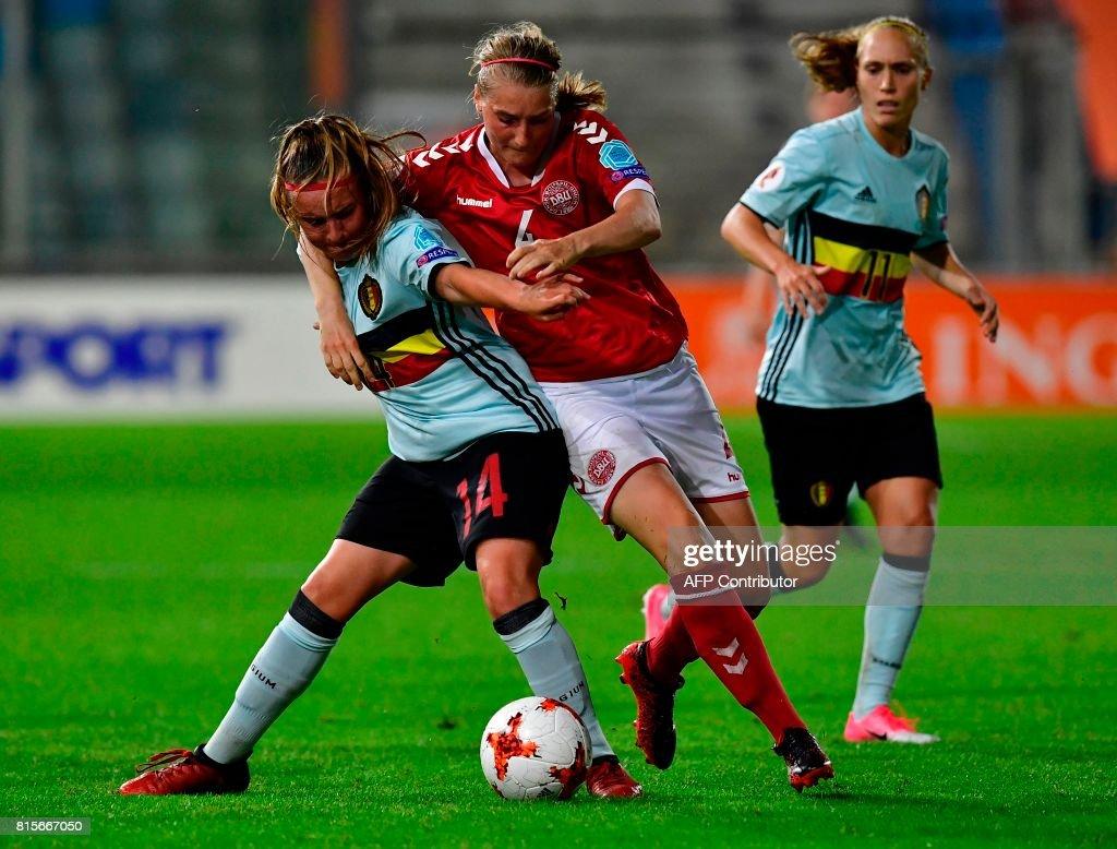 Belgium's forward Davinia Vanmechelen (L) fights for the ball with Denmark's midfielder Maja Ring Kildemoes during the UEFA Women's Euro 2017 football tournament between Denmark and Belgium at Stadium De Vijverberg in Doetinchem on July 16, 2017. /