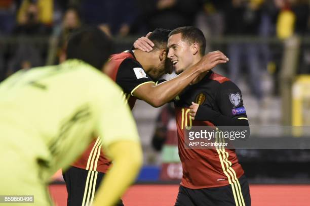 Belgium's forward Eden Hazard celebrates after scoring during the FIFA World Cup 2018 qualification football match between Belgium and Cyprus at the...