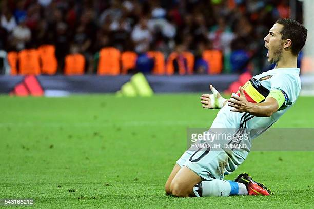 Belgium's forward Eden Hazard celebrates after scoring his team's third goal during the Euro 2016 round of 16 football match between Hungary and...