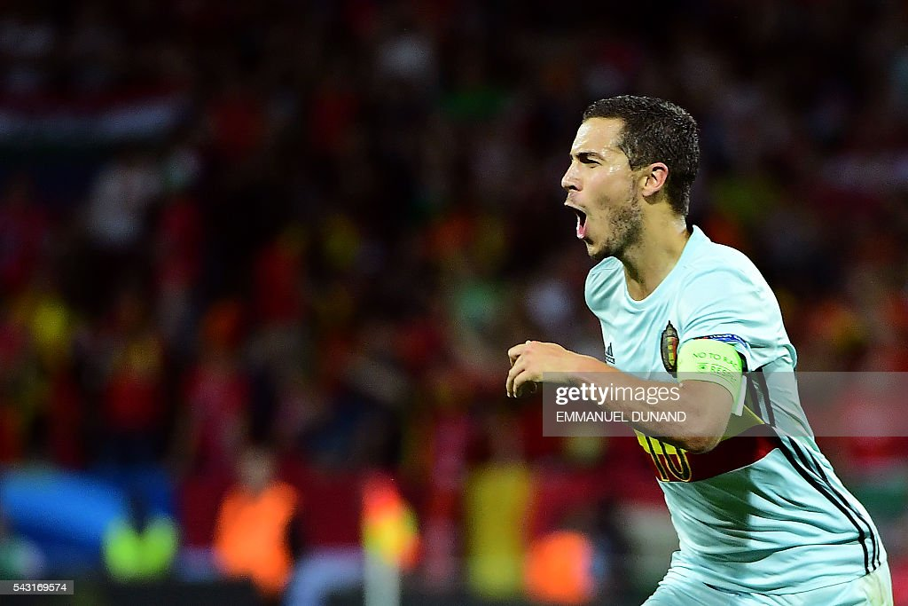 Belgium's forward Eden Hazard celebrates after scoring his team's third goal during the Euro 2016 round of 16 football match between Hungary and Belgium at the Stadium Municipal in Toulouse on June 26, 2016. / AFP / EMMANUEL
