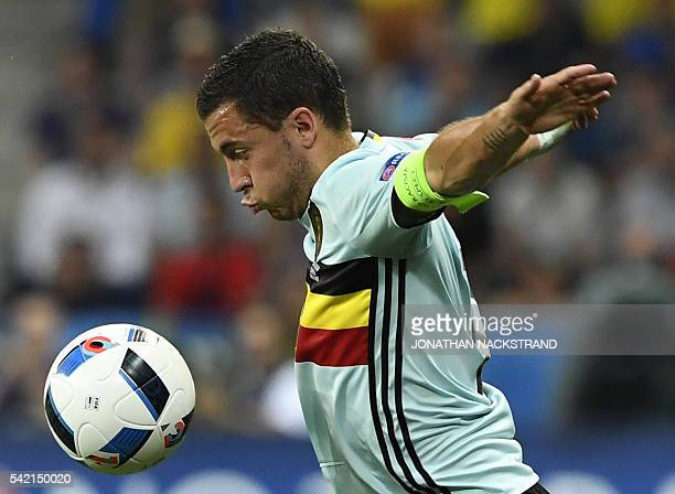 TOPSHOT Belgium's forward Eden Hazard controls the ball during the Euro 2016 group E football match between Sweden and Belgium at the Allianz Riviera...