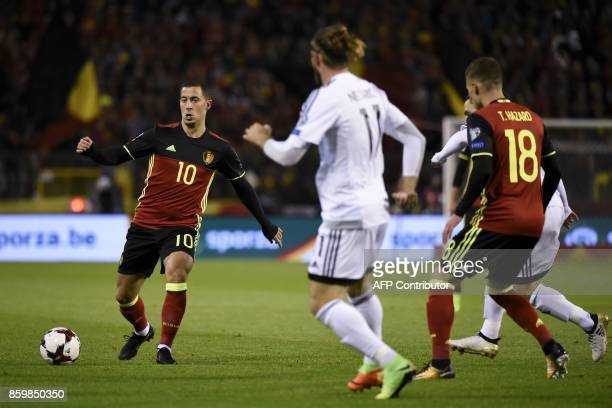 Belgium's forward Eden Hazard controls the ball during the FIFA World Cup 2018 qualification football match between Belgium and Cyprus at the King...