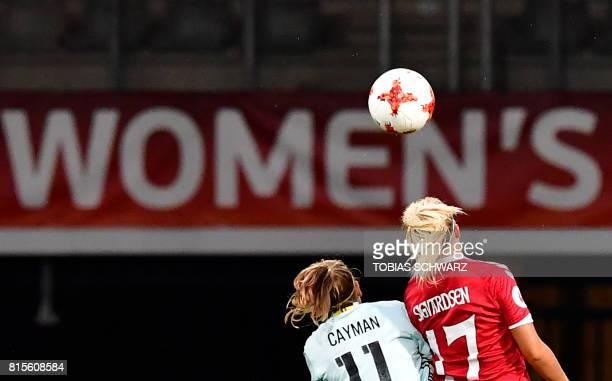 Belgium's forward Janice Cayman fights for the ball with Denmark's midfielder Line Sigvardsen Jensen during the UEFA Women's Euro 2017 football...