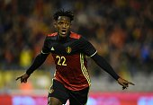 Belgium's forward Michy Batshuayi celebrates after scoringduring the friendly football match between Belgium and Italy at the King Baudouin Stadium...