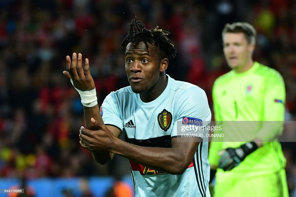 Belgium's forward Michy Batshuayi reacts during the Euro 2016 quarter-final football match between Wales and Belgium at the Pierre-Mauroy stadium in Villeneuve-d'Ascq near Lille, on July 1, 2016. / AFP / EMMANUEL