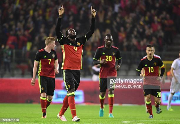 Belgium's forward Romelu Lukaku celebrates after scoring a goal during the friendly football match between Belgium and Finland at the King Baudouin...