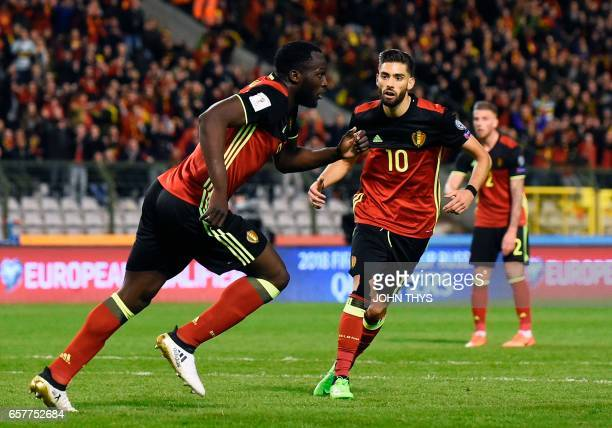 Belgium's forward Romelu Lukaku celebrates after scoring during the FIFA World Cup 2018 qualification football match between Belgium and Greece at...