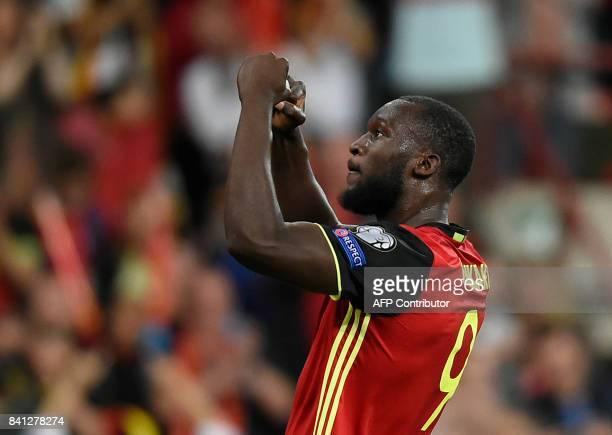 Belgium's forward Romelu Lukaku celebrates after scoring during the 2018 FIFA World Cup qualifying football match between Belgium and Gibraltar at...