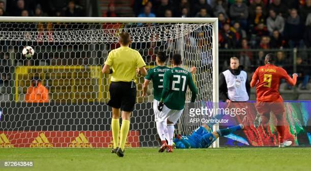 Belgium's forward Romelu Lukaku scores a goal during the international friendly football match between Belgium and Mexico at the King Baudouin...