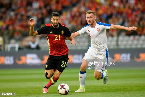 Belgium's forward Yannick Carrasco vies with Czech Jakub Brabec during the friendly football match between Belgium and Czech at the King Baudouin...