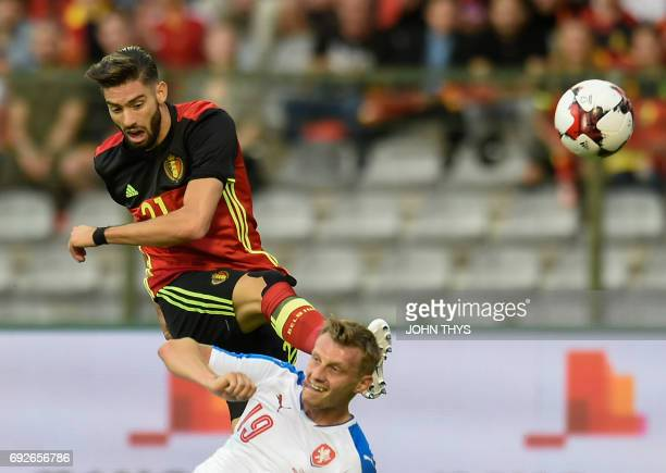 Belgium's forward Yannick Carrasco vies with Czech Ladislav Krejci during the friendly football match between Belgium and Czech at the King Baudouin...