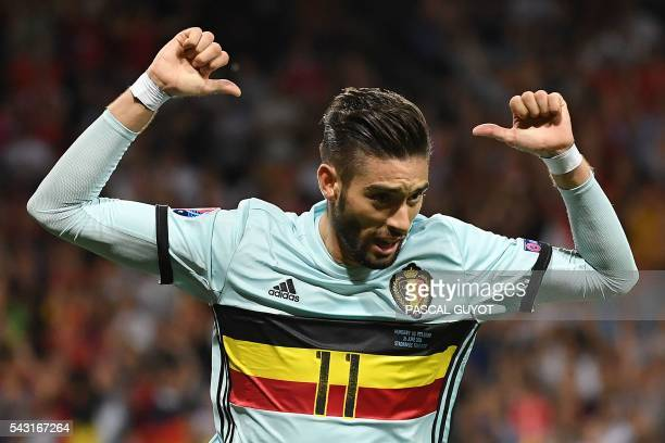 TOPSHOT Belgium's forward Yannick FerreiraCarrasco celebrates after scoring his team's fourth goal during the Euro 2016 round of 16 football match...