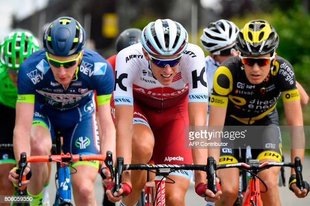 Belgium's Frederik Backaert Germany's Nils Politt and France's Romain Sicard lead a breakaway during the 2125 km third stage of the 104th edition of...