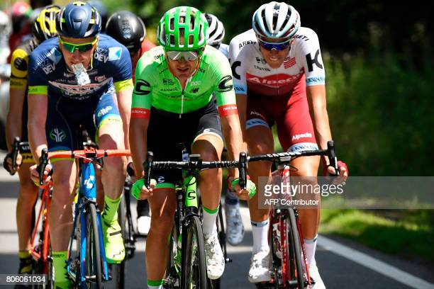 Belgium's Frederik Backaert USA's Nathan Brown and Germany's Nils Politt lead a breakaway during the 2125 km third stage of the 104th edition of the...