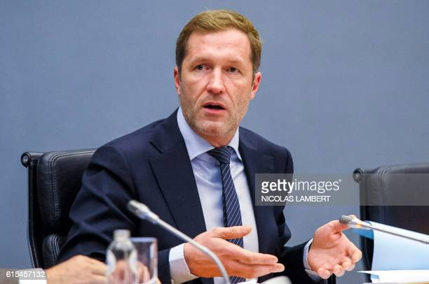 Belgium's Frenchspeaking Walloon Minister President Paul Magnette speaks during a meeting on CETA at the Walloon parliament in Namur Belgium on...