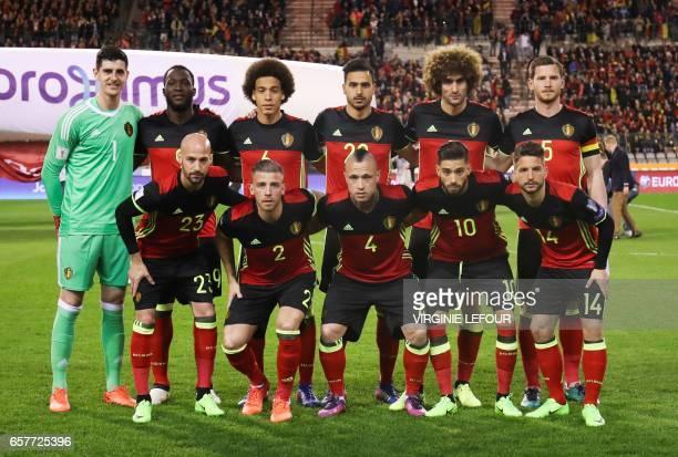Belgium's goalkeeper Thibaut Courtois Belgium's Romelu Lukaku Belgium's Axel Witsel Belgium's Nacer Chadli Belgium's Marouane Fellaini Belgium's Jan...