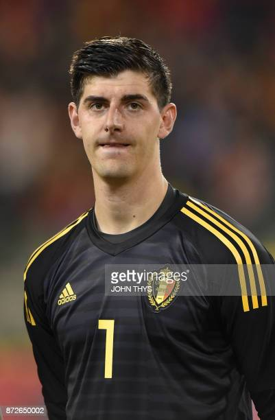 Belgium's goalkeeper Thibaut Courtois is pictured during their international friendly football match between Belgium and Mexico at the King Baudouin...