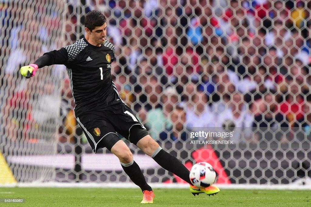 Belgium's goalkeeper Thibaut Courtois kicks the ball during the Euro 2016 round of 16 football match between Hungary and Belgium at the Stadium Municipal in Toulouse on June 26, 2016. / AFP / Attila KISBENEDEK