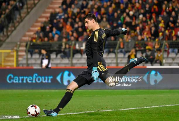 Belgium's goalkeeper Thibaut Courtois kicks the ball during the international friendly football match between Belgium and Mexico at the King Baudouin...