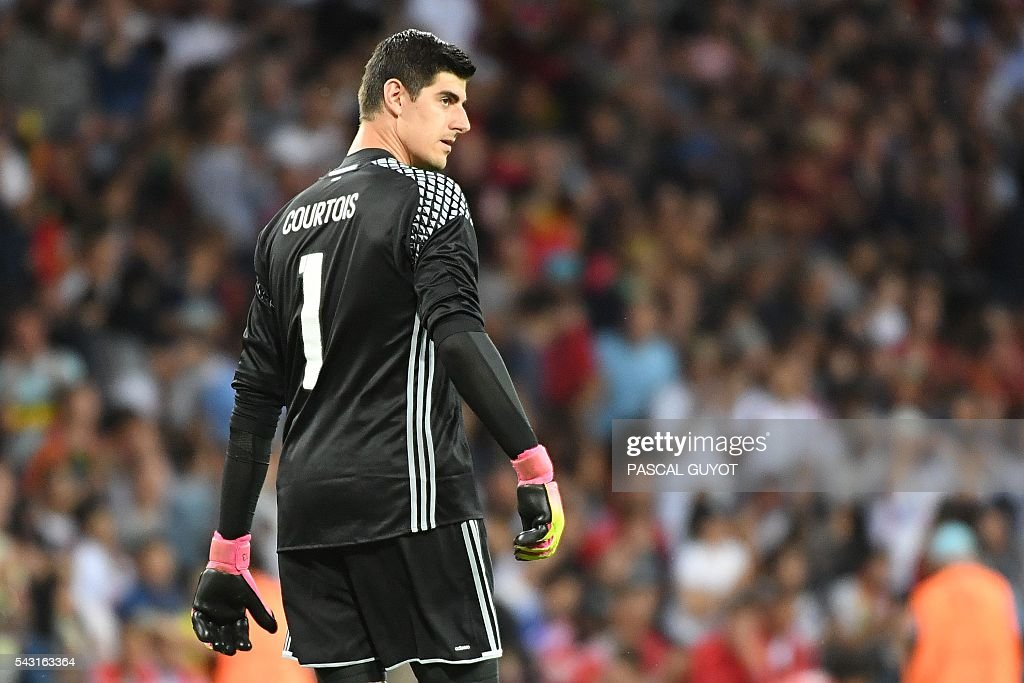 Belgium's goalkeeper Thibaut Courtois reacts during the Euro 2016 round of 16 football match between Hungary and Belgium at the Stadium Municipal in Toulouse on June 26, 2016. / AFP / PASCAL