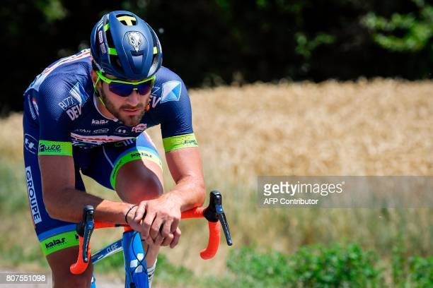 Belgium's Guillaume Van Keirsbulck rides in a breakaway during the 2075 km fourth stage of the 104th edition of the Tour de France cycling race on...