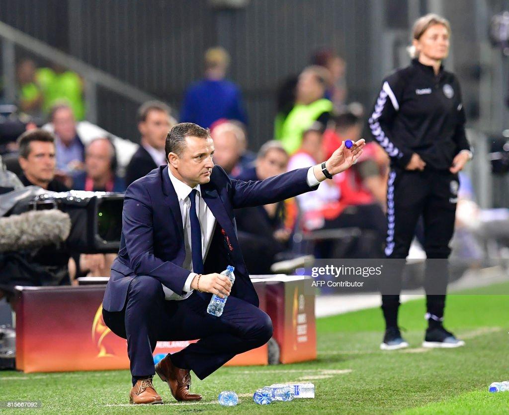 Belgium's head coach Ives Serneels gestures during the UEFA Women's Euro 2017 football tournament between Denmark and Belgium at Stadium De Vijverberg in Doetinchem on July 16, 2017. /