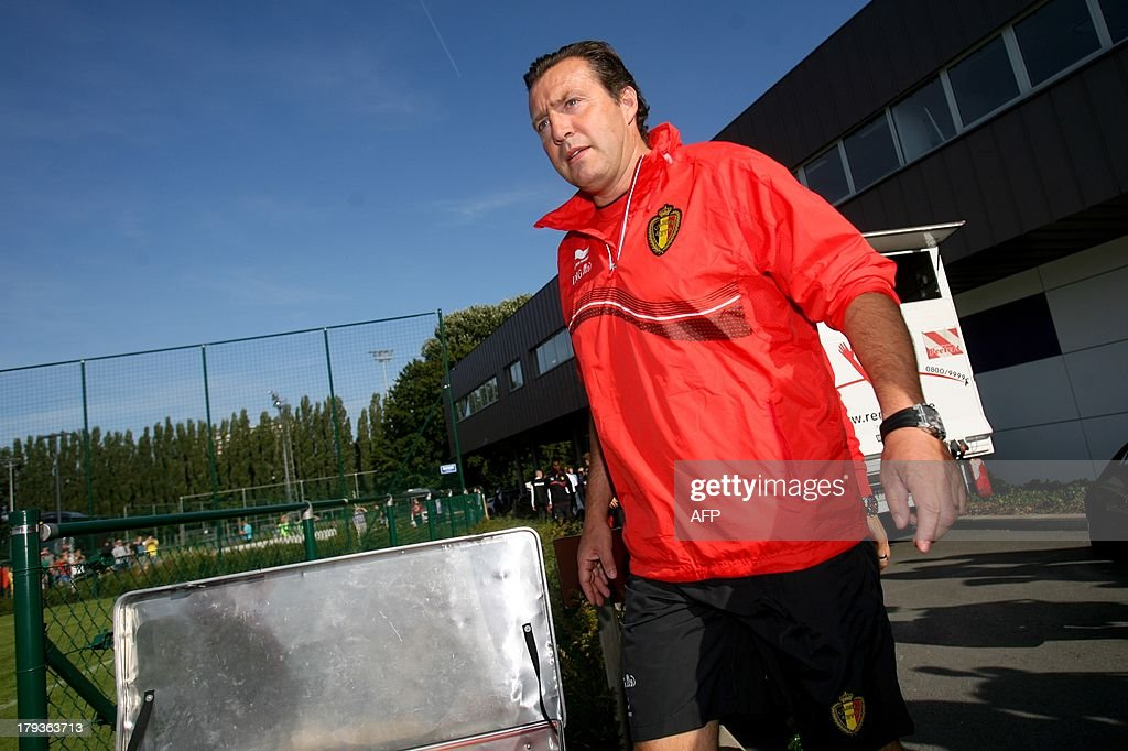 Belgium's head coach Marc Wilmots arrives for a training session of the Belgian national soccer team Red Devils, on September 2, 2013 in Brussels. Red Devils will play a qualification game against Scotland for the 2014 FIFA World Cup on 06 September 2013 in Glasgow.