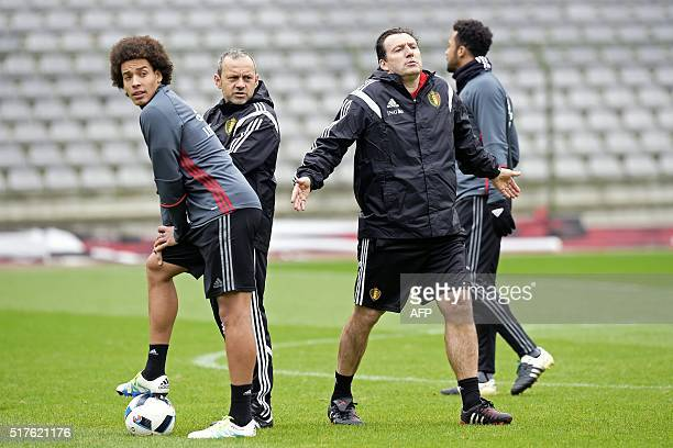 Belgium's head coach Marc Wilmots gestures during a training session of the Belgian national football team on March 26 2016 ahead of the friendly...