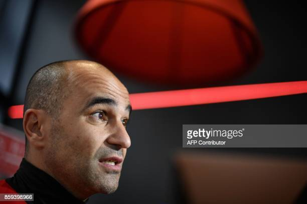 Belgium's head coach Roberto Martinez speaks during a press conference of Belgian national football team Red Devils on October 9 in Tubize on the eve...