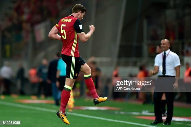 Belgium's Jan Vertonghen celebrates after scoring during their Group H 2018 FIFA World Cup qualifying football match between Greece and Belgium at...