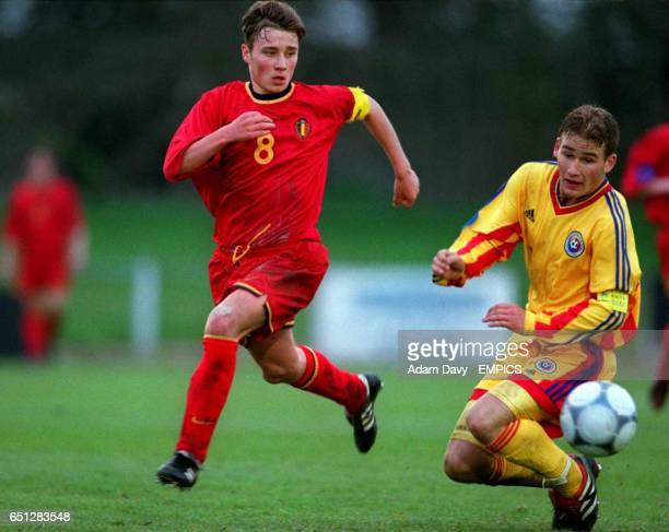 Belgium's Jonathan Blondel gets past Romania's Florin Constantin Coman