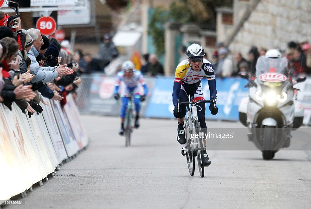 Belgium's Jurgen Roelandts sprints in the the last meters before the finish line before winning the fifth stage of the Mediterranean Tour cycling race on February 10, 2013 in Grasse, southeastern France. Swenden's Thomas Lövkvist won the race.