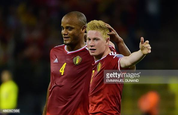 Belgium's Kevin De Bruyne celebrates after scoring with Belgium's Vincent Kompany during the Euro 2016 qualifying match between Belgium and Bosnia...