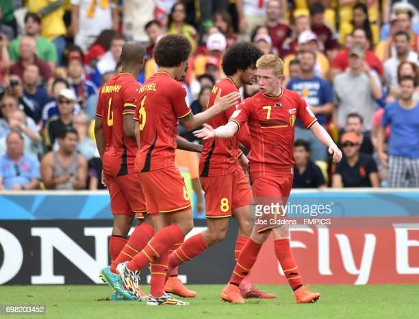 Belgium's Kevin De Bruyne celebrates with teammate Belgium's Axel Witsel after teammate Belgium's Divock Origi scores his team's opening goal