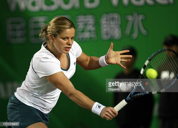 Belgium's Kim Clijsters during the Gold Group singles semifinal match between Patty Schyder and Kim Clijsters in the Watsons Water Champions...