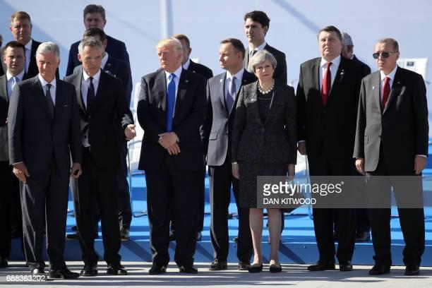 Belgium's King Philip NATO Secretary General Jens Stoltenberg US President Donald Trump Britain's Prime Minister Theresa May and Turkish President...