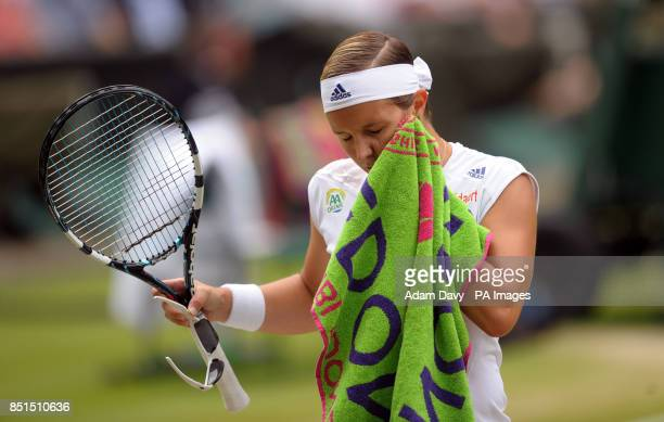 Belgium's Kirsten Flipkens during the match against France's Marion Bartoli during day ten of the Wimbledon Championships at The All England Lawn...