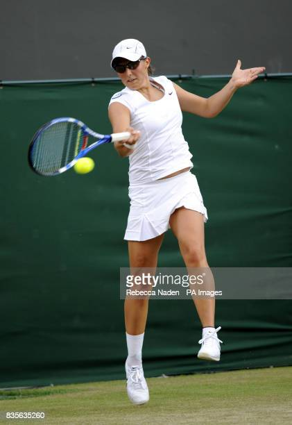 Belgium's Kirsten Flipkens in action against Russia's Dinara Safina during the 2009 Wimbledon Championships at the All England Lawn Tennis and...