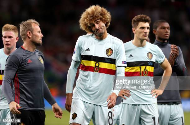 Belgium's Marouane Fellaini celebrates victory after the final whistle
