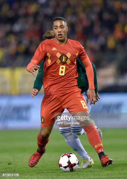 Belgium's midfielder Youri Tielemans controls the ball during the international friendly football match between Belgium and Mexico at the King...