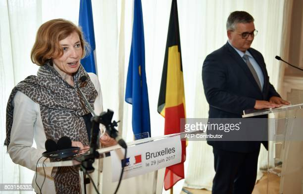 Belgium's Minister of Defence and Public Service Steven Vandeput and French Defence Minister Florence Parly deliver a statement following the signing...