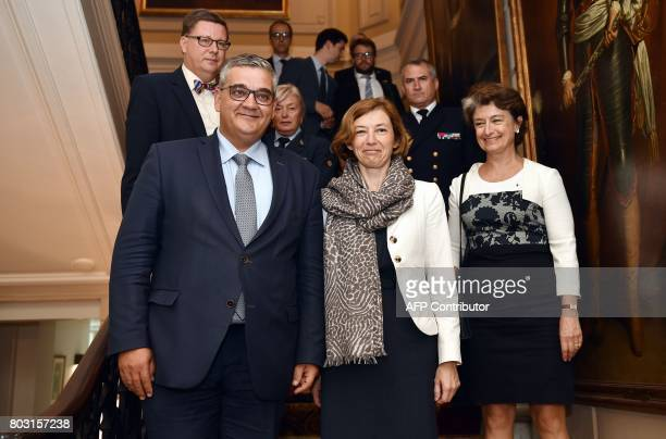 Belgium's Minister of Defence and Public Service Steven Vandeput French Defence Minister Florence Parly and French ambassador to Belgium ClaudeFrance...