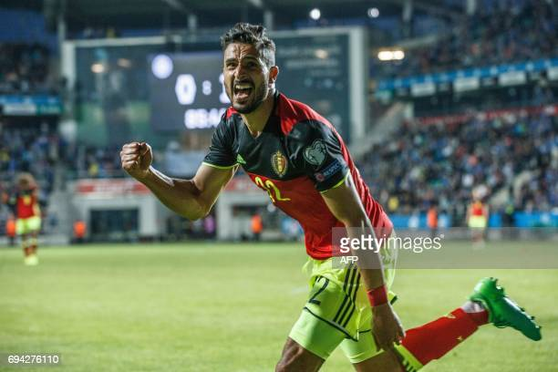 Belgium's Nacer Chadli celebrates after scoring a goal during the FIFA World Cup 2018 qualification football match between Estonia and Belgium in...