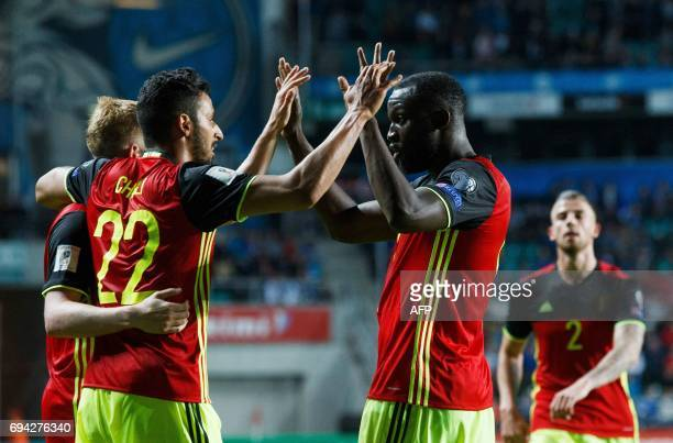 Belgium's Nacer Chadli celebrates after scoring a goal with his teammates during the FIFA World Cup 2018 qualification football match between Estonia...