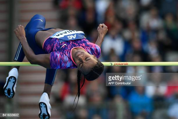 Belgium's Nafissatou Thiam competes during the women's high jump competition at the AG Insurance Memorial Van Damme athletics event the last meeting...